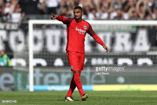 Kevin PrinceBoateng of Frankfurt celebrates scoring his teams first goal to make it 01 during the Bundesliga match between Borussia Moenchengladbach...