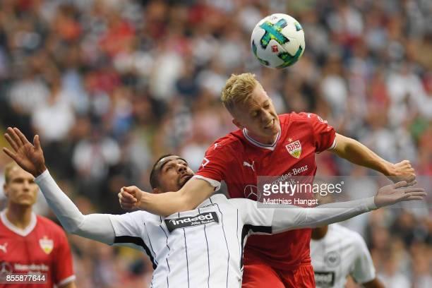 Kevin PrinceBoateng of Frankfurt fights for the ball with Timo Baumgartl of Stuttgart during the Bundesliga match between Eintracht Frankfurt and VfB...
