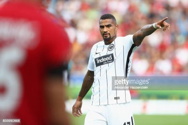 Kevin PrinceBoateng of Frankfurt reacts during the Bundesliga match between SportClub Freiburg and Eintracht Frankfurt at SchwarzwaldStadion on...