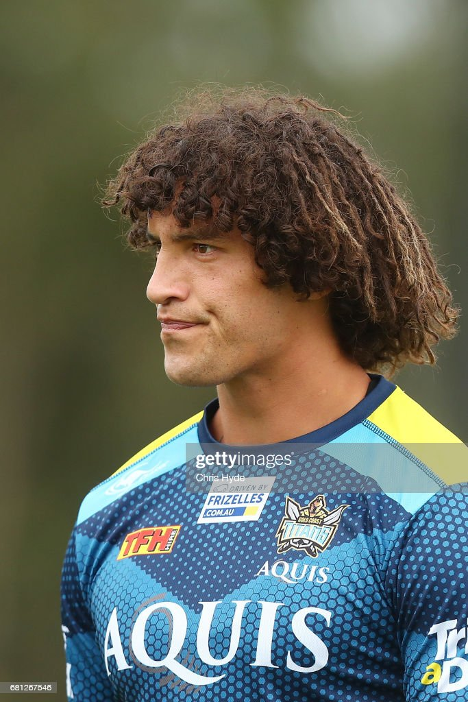 Kevin Proctor looks on during a Gold Coast Titans NRL training session on May 10, 2017 in Gold Coast, Australia.