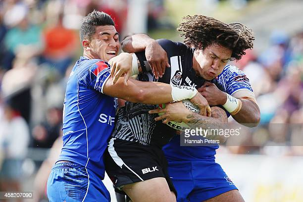 Kevin Proctor of New Zealand charges forward during the Four Nations match between the New Zealand Kiwis and Samoa at Toll Stadium on November 1 2014...