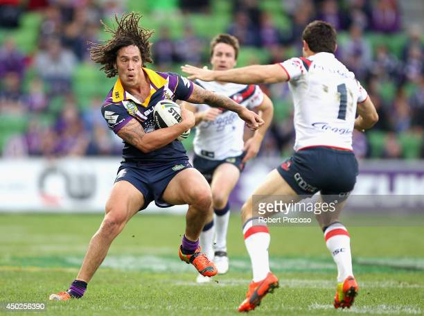 Kevin Proctor of the Storm runs with the ball during the round 13 NRL match between the Melbourne Storm and the Sydney Roosters at AAMI Park on June...