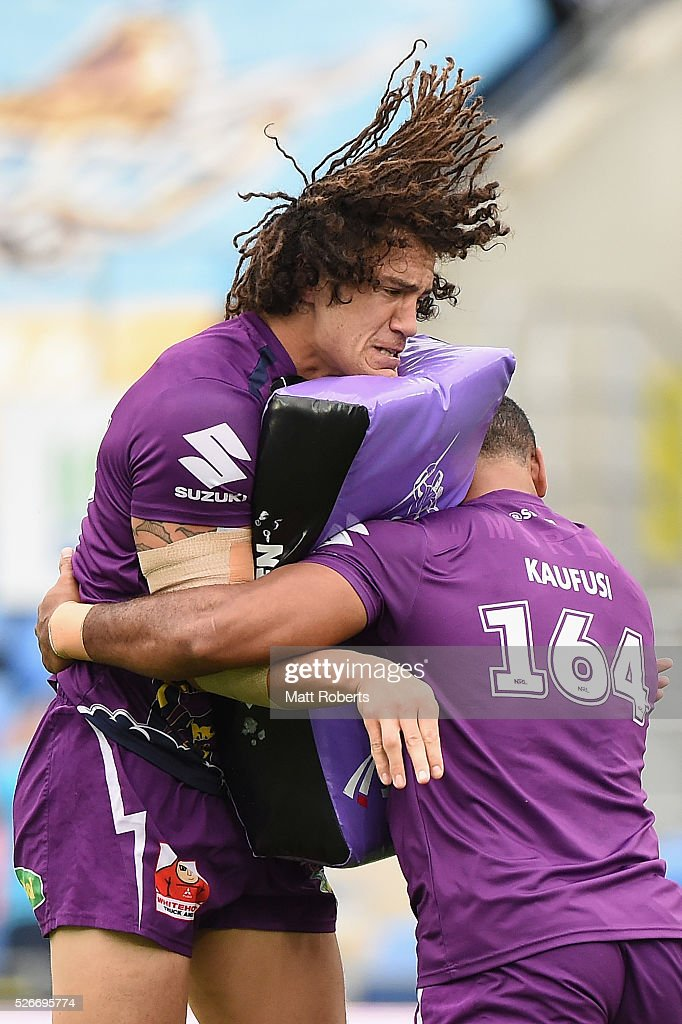 Kevin Proctor of the Storm warms up before the round nine NRL match between the Gold Coast Titans and the Melbourne Storm on May 1, 2016 in Gold Coast, Australia.