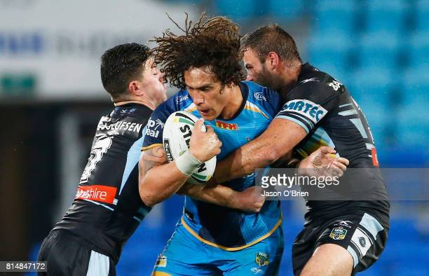 Kevin Proctor of the Titans in action during the round 19 NRL match between the Gold Coast Titans and the Cronulla Sharks at Cbus Super Stadium on...