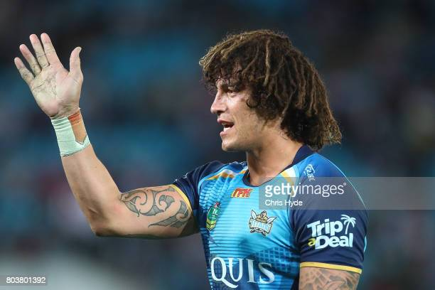 Kevin Proctor of the Titans looks on during the round 17 NRL match between the Gold Coast Titans and the St George Illawarra Dragons at Cbus Super...