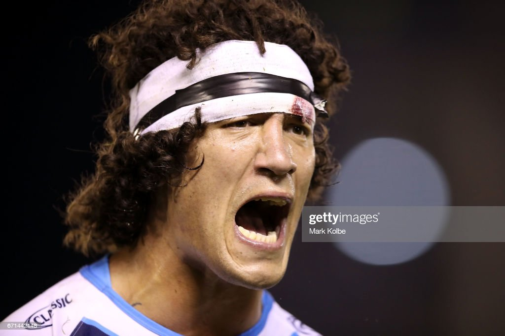 Kevin Proctor of the Titans shouts during the round eight NRL match between the Cronulla Sharks and the Gold Coast Titans at Southern Cross Group Stadium on April 22, 2017 in Sydney, Australia.