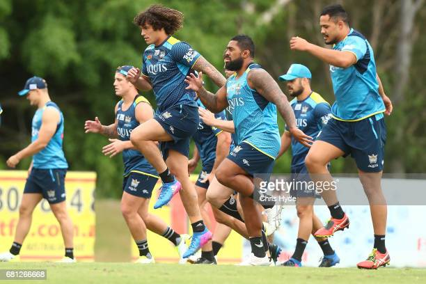 Kevin Proctor runs during a Gold Coast Titans NRL training session on May 10 2017 in Gold Coast Australia