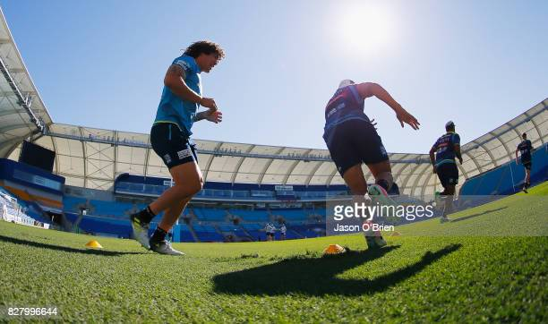 Kevin Proctor trains during a Gold Coast Titans NRL media opportunity at Cbus Super Stadium on August 9 2017 in Gold Coast Australia