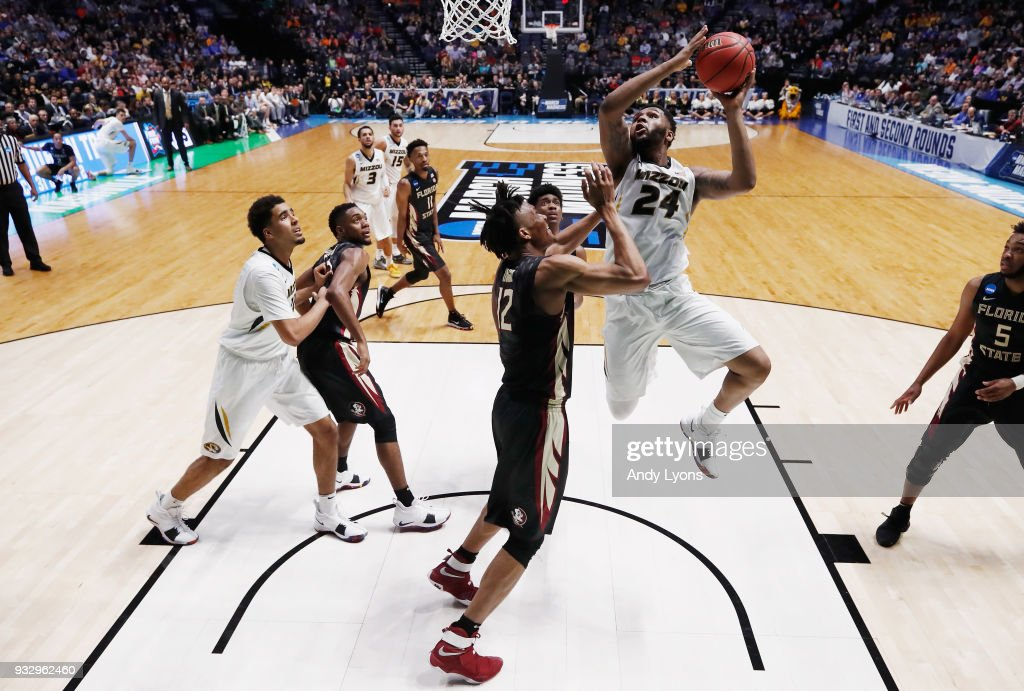 Kevin Puryear #24 of the Missouri Tigers shoots the ball against the Florida State Seminoles during the game in the first round of the 2018 NCAA Men's Basketball Tournament at Bridgestone Arena on March 16, 2018 in Nashville, Tennessee.