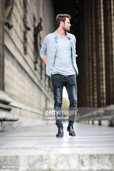 Kevin Ragonneau is wearing a Hollister gray shirt a Le Typographe tshirt Zara shoes Zara black jeans and a Kapten and Son watch at the Eglise de la...