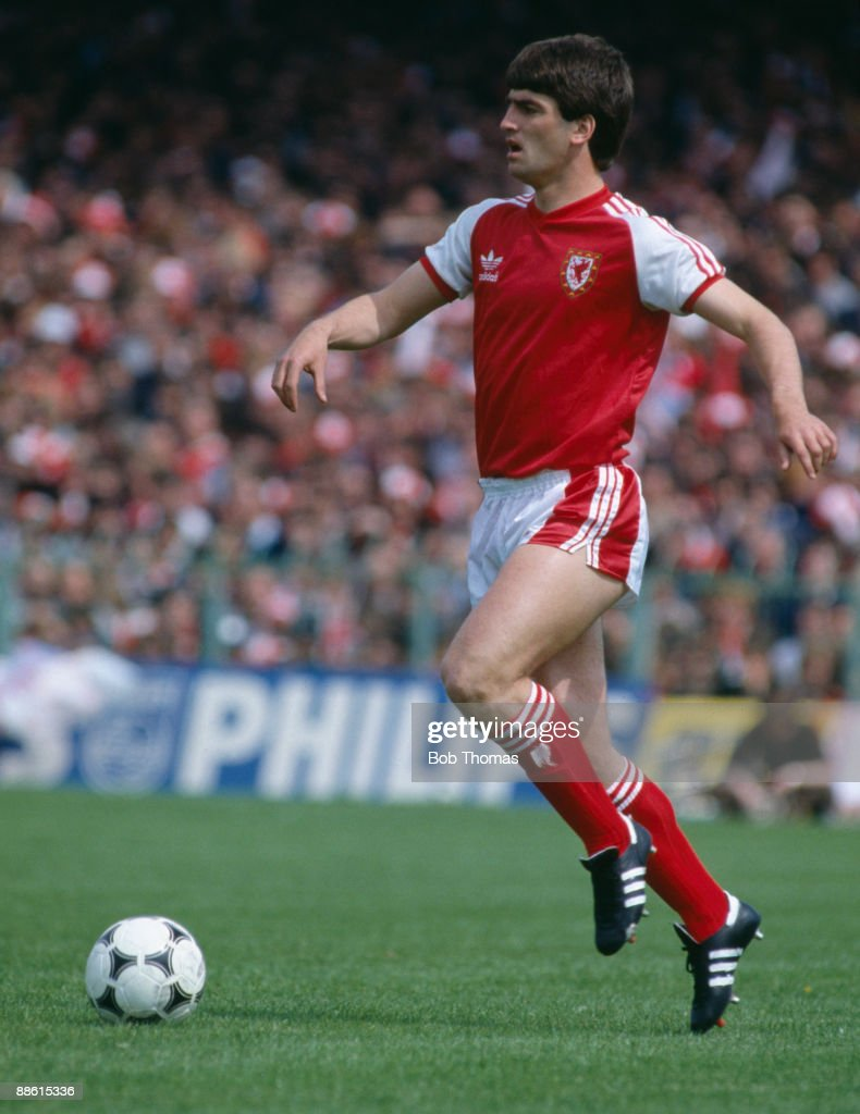 Kevin Ratcliffe in action for Wales, circa 1980.