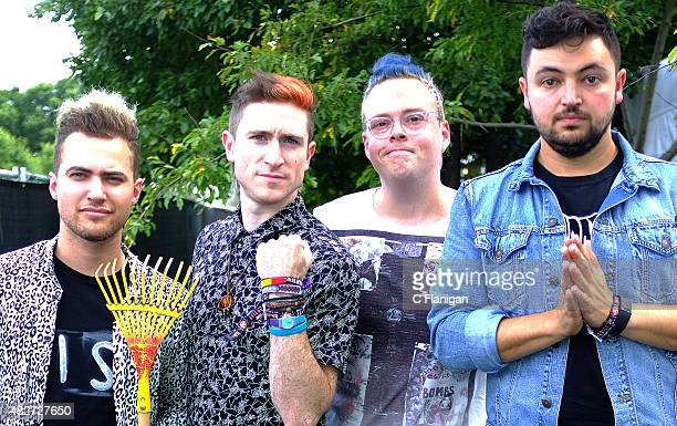 Kevin Ray Nicholas Petricca Sean Waugaman and Eli Maiman of Walk the Moon pose during the 2015 Lollapalooza Music Festival at Grant Park on August 1...