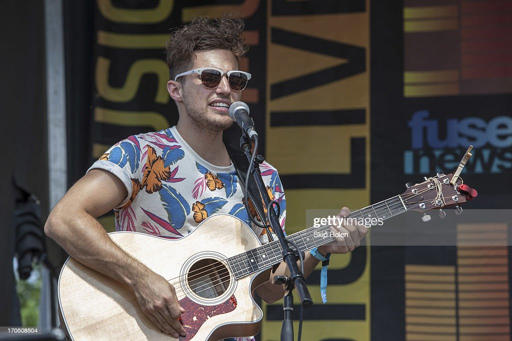 Kevin Ray of Walk The Moon performs at the Fuse News Waffle House during the 2013 Bonnaroo Music & Arts Festival on June 13, 2013 in Manchester, Tennessee.