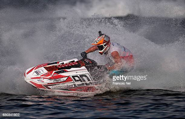 Kevin Reiterer of Austria race in the Ski Division GP1 final during the Aquabike Class Pro Circuit World Championships Grand Prix of Sharjah at...