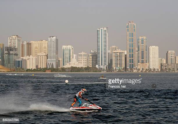Kevin Reiterer of Norway race in the Ski Division GP1 final during the Aquabike Class Pro Circuit World Championships Grand Prix of Sharjah at Khalid...
