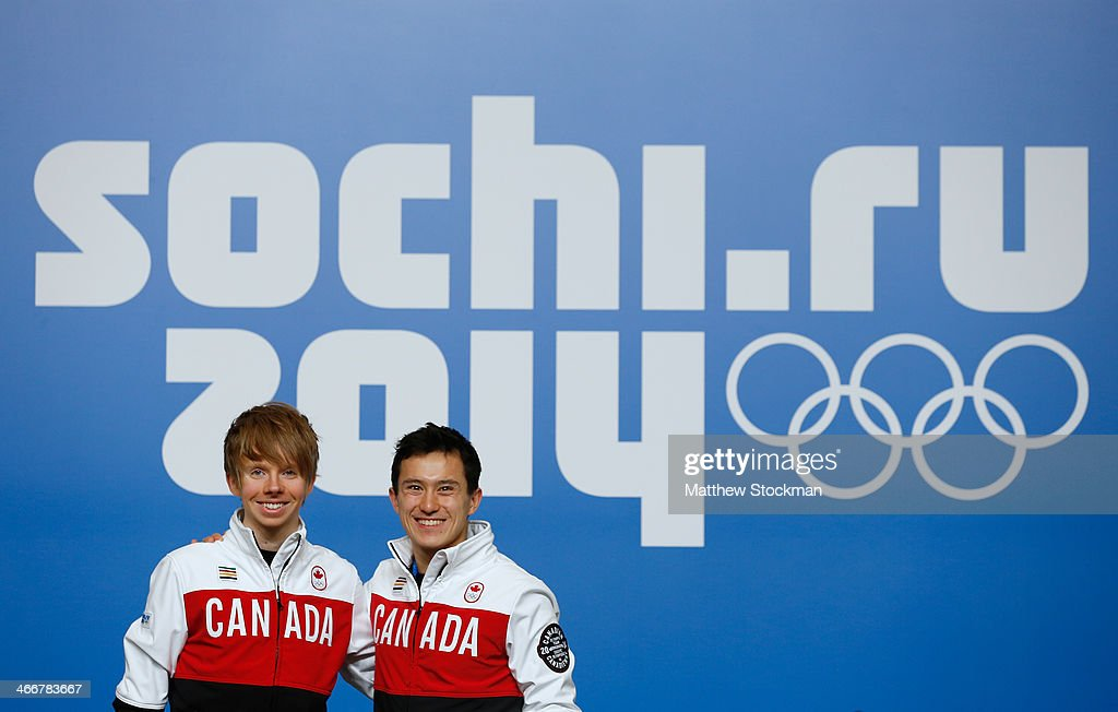 Kevin Reynolds (L) and Patrick Chan attend a Canada Men's Figure Skating press conference ahead of the Sochi 2014 Winter Olympics at the Main Press Centre (MPC) on February 4, 2014 in Sochi, Russia.