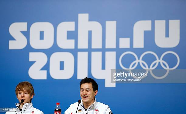 Kevin Reynolds and Patrick Chan attend a Canada Men's Figure Skating press conference ahead of the Sochi 2014 Winter Olympics at the Main Press...