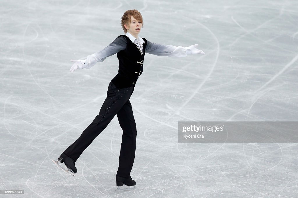 <a gi-track='captionPersonalityLinkClicked' href=/galleries/search?phrase=Kevin+Reynolds&family=editorial&specificpeople=5578771 ng-click='$event.stopPropagation()'>Kevin Reynolds</a> of Canada competes in the Men Free Skating during day two of the ISU Grand Prix of Figure Skating NHK Trophy at Sekisui Heim Super Arena on November 24, 2012 in Rifu, Japan.