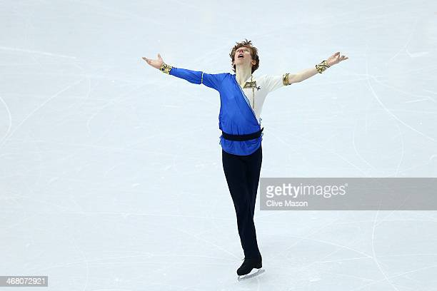 Kevin Reynolds of Canada competes in the Men's Figure Skating Men's Free Skate during day two of the Sochi 2014 Winter Olympics at Iceberg Skating...
