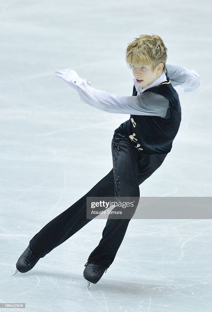 <a gi-track='captionPersonalityLinkClicked' href=/galleries/search?phrase=Kevin+Reynolds&family=editorial&specificpeople=5578771 ng-click='$event.stopPropagation()'>Kevin Reynolds</a> of Canada competes in the men's free program during day two of the ISU World Team Trophy at Yoyogi National Gymnasium on April 12, 2013 in Tokyo, Japan.