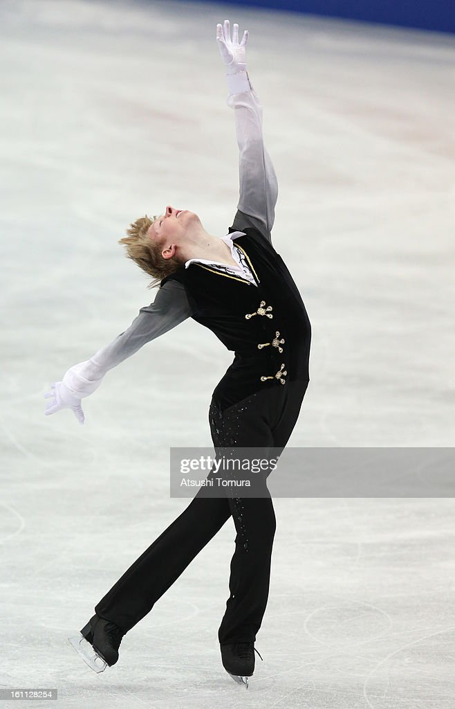 <a gi-track='captionPersonalityLinkClicked' href=/galleries/search?phrase=Kevin+Reynolds&family=editorial&specificpeople=5578771 ng-click='$event.stopPropagation()'>Kevin Reynolds</a> of Canada competes in the Men's Free Skating during day two of the ISU Four Continents Figure Skating Championships at Osaka Municipal Central Gymnasium on February 9, 2013 in Osaka, Japan.