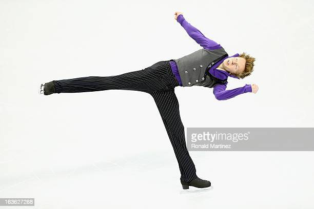 Kevin Reynolds of Canada competes in the Men's Short Program during the 2013 ISU World Figure Skating Championships at Budweiser Gardens on March 13...