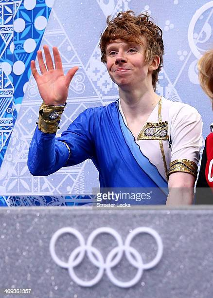 Kevin Reynolds of Canada reacts after he competes during the Figure Skating Men's Free Skating on day seven of the Sochi 2014 Winter Olympics at...