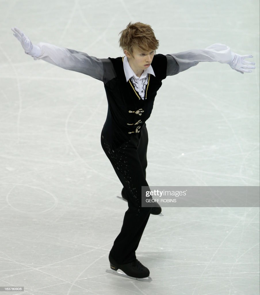 Kevin Reynolds of Canada skates his free program in the men's competition at the 2013 World Figure Skating Championships in London, Ontario, March 15, 2013. AFP PHOTO/Geoff Robins