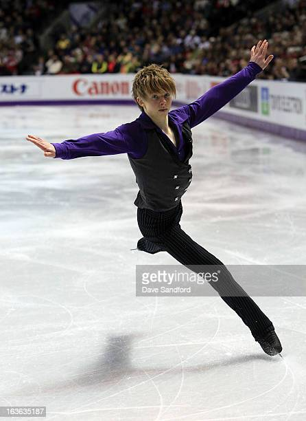Kevin Reynolds of Canada skates in the Men's Short Program during the 2013 ISU World Figure Skating Championships at Budweiser Gardens on March 13...