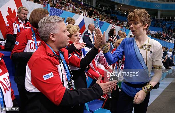 Kevin Reynolds of Canada walks off the ice after competing in the Men's Figure Skating Men's Free Skate during day two of the Sochi 2014 Winter...