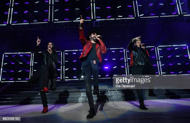 Kevin Richardson AJ McLean and Nick Carter of Backstreet Boys perform onstage during 1035 KTU's KTUphoria 2017 presented by ATT at Northwell Health...