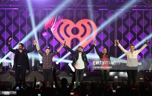 Kevin Richardson Brian Littrell A J McLean Howie Dorough and Nick Carter of Backstreet Boys perform onstage during 1035 KISS FM's Jingle Ball 2016 at...