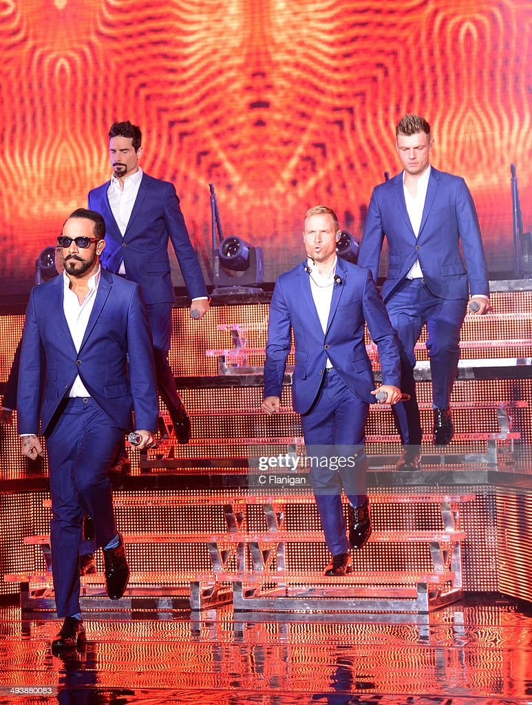 Kevin Richardson, Brian Littrell, AJ McLean, Howie Dorough and Nick Carter of the Backstreet Boys performs during the 'In a World Like This' summer tour at Shoreline Amphitheatre on May 25, 2014 in Mountain View, California.