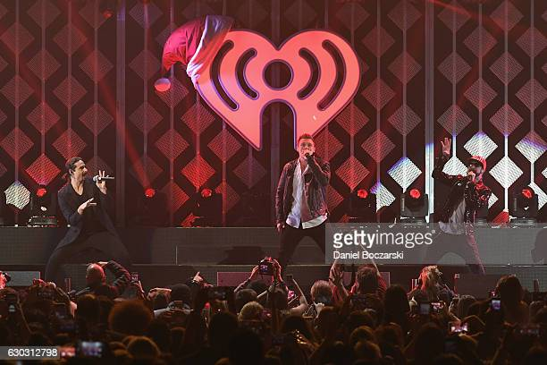 Kevin Richardson Brian Littrell Nick Carter and A J McLean of Backstreet Boys perform onstage during 1035 KISS FM's Jingle Ball 2016 at Allstate...