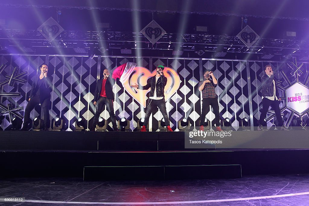 Kevin Richardson, Howie Dorough, A. J. McLean, Brian Littrell, and Nick Carter of Backstreet Boys perform onstage during 103.5 KISS FM's Jingle Ball 2016 at Allstate Arena on December 14, 2016 in Rosemont, Illinois.