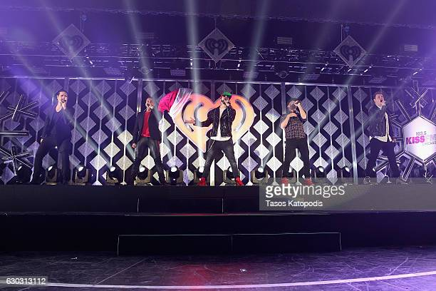 Kevin Richardson Howie Dorough A J McLean Brian Littrell and Nick Carter of Backstreet Boys perform onstage during 1035 KISS FM's Jingle Ball 2016 at...