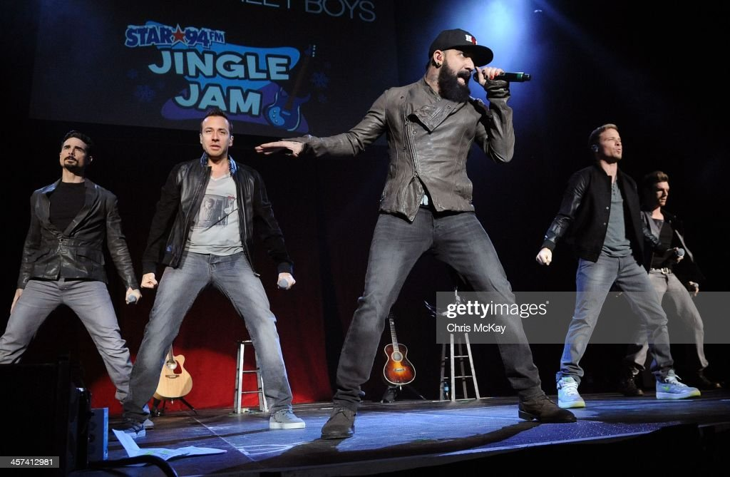 Kevin Richardson, Howie Dorough, A.J. McClean, Brian Littrell, and Nick Carter of Backstreet Boys perform during the 2013 Star 94 Jingle Jam at Arena at Gwinnett Center on December 16, 2013 in Duluth, Georgia.