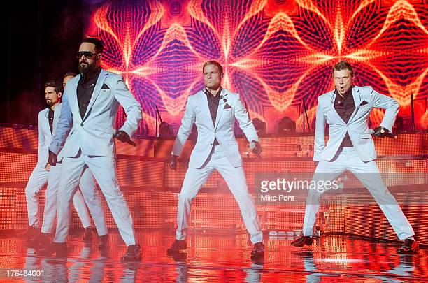 Kevin Richardson Howie Dorough AJ McLean Brian Littrell and Nick Carter of the Backstreet Boys perform at Nikon at Jones Beach Theater on August 13...
