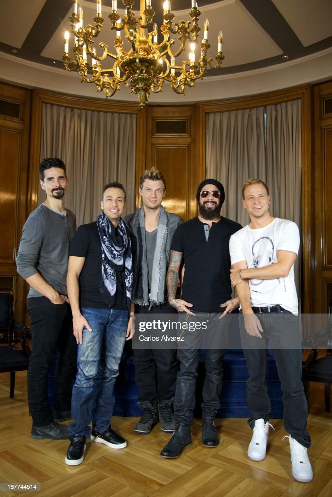 Kevin Richardson, <a gi-track='captionPersonalityLinkClicked' href=/galleries/search?phrase=Howie+Dorough&family=editorial&specificpeople=204770 ng-click='$event.stopPropagation()'>Howie Dorough</a>, <a gi-track='captionPersonalityLinkClicked' href=/galleries/search?phrase=Nick+Carter&family=editorial&specificpeople=201755 ng-click='$event.stopPropagation()'>Nick Carter</a>, A.J. Maclean and Brien Littrell of Backstreet Boys present their new album 'In A World Like This' at the Palace Hotel on November 12, 2013 in Madrid, Spain.