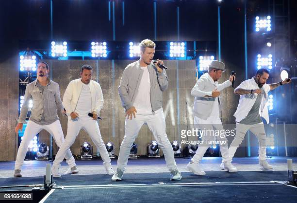 Kevin Richardson Howie Dorough Nick Carter Brian Littrell and AJ McLean from Back Street Boys perform on stage during iHeartSummer '17 Weekend hosted...