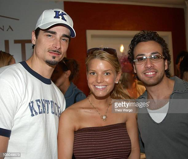 Kevin Richardson Jessica Simpson and Howie D during The Cabana Oscars Beauty Buffet with Allure Magazine Day 2 at Chateau Marmont in West Hollywood...