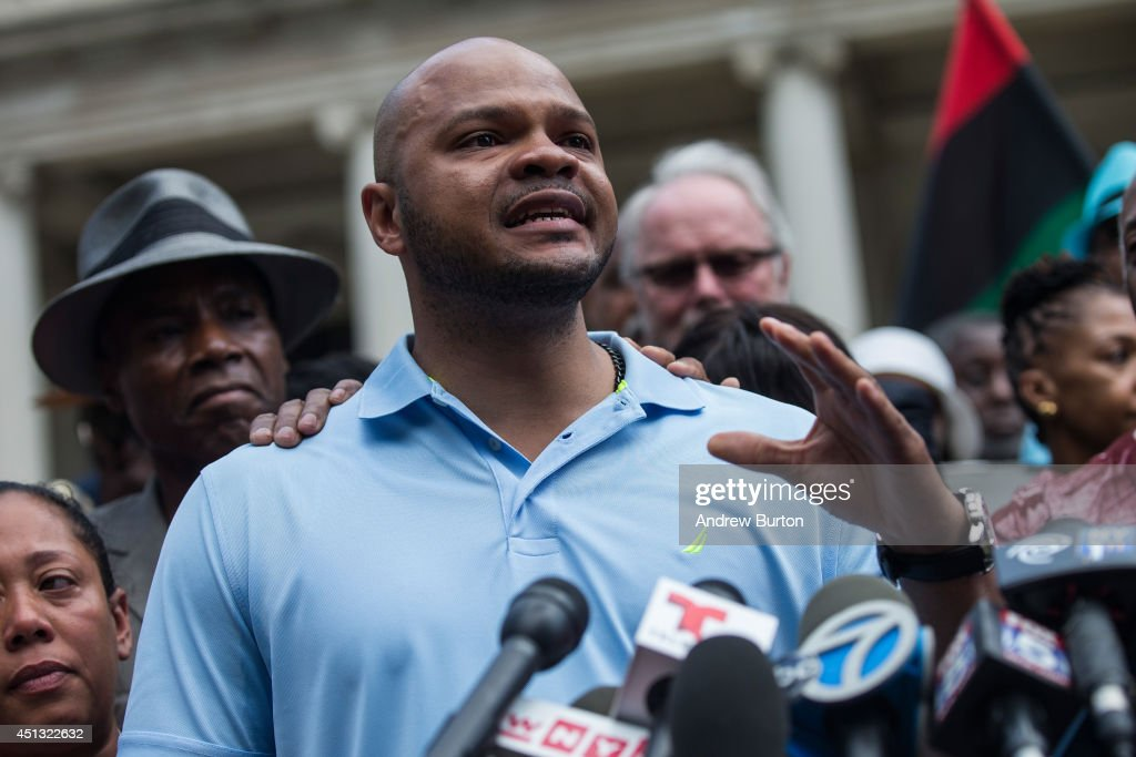 Kevin Richardson, one of the five men wrongfully convicted of raping a woman in Central Park in 1989, speaks at a press conference on city halls' steps after it was announced that the men, known as the 'Central Park Five,' had settled with New York City for approximately $40 million dollars on June 27, 2014 in New York City. All five men spent time in jail, until their convictions were overturned in 2002 after being proven innocent.
