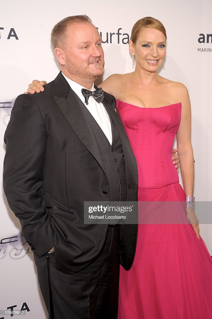 Kevin Robert Frost and actress Uma Thurman attend the 4th Annual amfAR Inspiration Gala New York at The Plaza Hotel on June 13, 2013 in New York City.