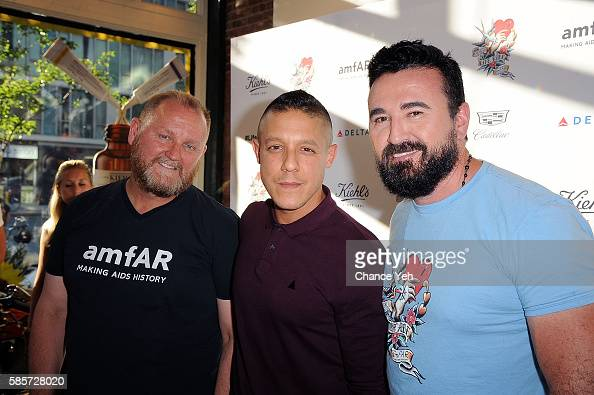 Kevin Robert Frost Theo Rossi and Chris Salgardo attend 7th annual LifeRide for amfAR at Kiehl's Since 1851 Flagship Store on August 3 2016 in New...