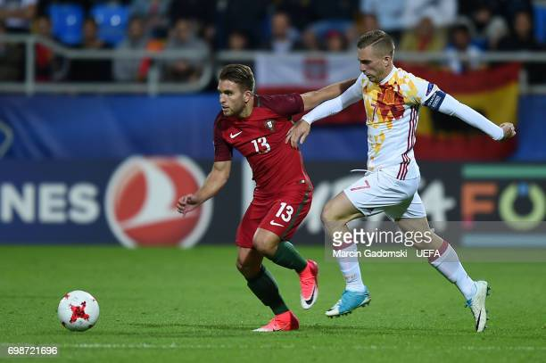 Kevin Rodrigues of Portugal and Gerard Deulofeu of Spain during their UEFA European Under21 Championship match on June 20 2017 in Gdynia Poland