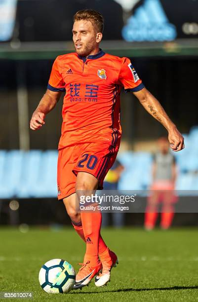 Kevin Rodrigues of Real Sociedad in action during the La Liga match between Celta de Vigo and Real Sociedad at Balaidos Stadium on August 19 2017 in...