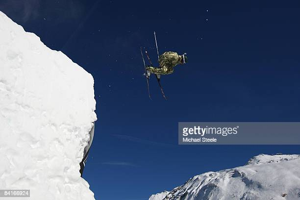 Kevin Roland of France during the Big Air practice on Day One of the Tignes Airwaves Freestyle Ski event at Tignes Val Claret on January 4 2009 in...