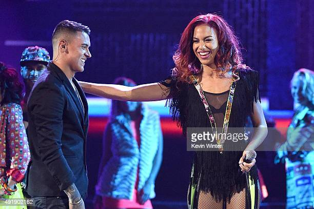 Kevin Roldan and Natalie La Rose perform onstage during Telemundo's Latin American Music Awards at the Dolby Theatre on October 8 2015 in Hollywood...
