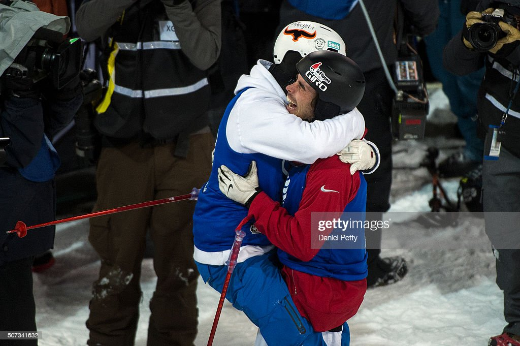 <a gi-track='captionPersonalityLinkClicked' href=/galleries/search?phrase=Kevin+Rolland&family=editorial&specificpeople=4840688 ng-click='$event.stopPropagation()'>Kevin Rolland</a> (R) of France gets a hug from fellow countryman <a gi-track='captionPersonalityLinkClicked' href=/galleries/search?phrase=Benoit+Valentin&family=editorial&specificpeople=7479519 ng-click='$event.stopPropagation()'>Benoit Valentin</a> (L) after Rolland won the gold medal on his final run of the men's ski halfpipe at Winter X Games 2016 Aspen at Buttermilk Mountain on January 28, 2016, in Aspen, Colorado.