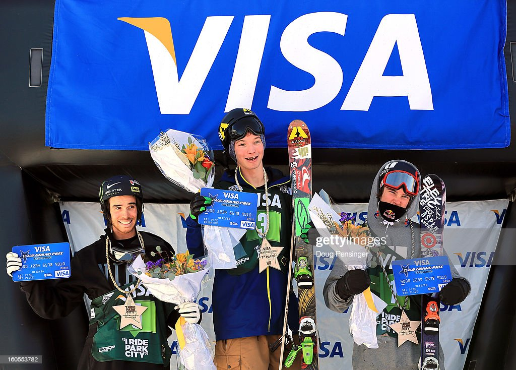 Kevin Rolland of France in third place, David Wise of the USA in first place and Torin Yater-Wallace of the USA in second place take the podium for the men's FIS Freestyle Ski Halfpipe World Cup during the Sprint U.S. Grand Prix at Park City Mountain on February 2, 2013 in Park City, Utah.